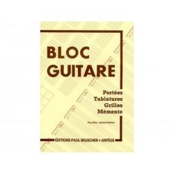 Bloc guitare - Portées tablatures, grilles