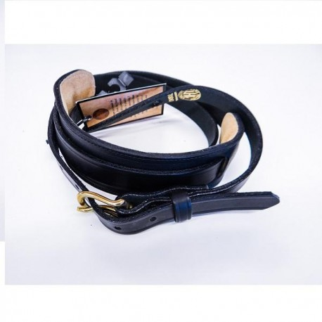 Sangle en cuir 165 cm - Extra Long -  noir