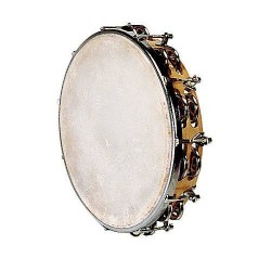 Tambourin peau naturelle + cymbales Ø25cm