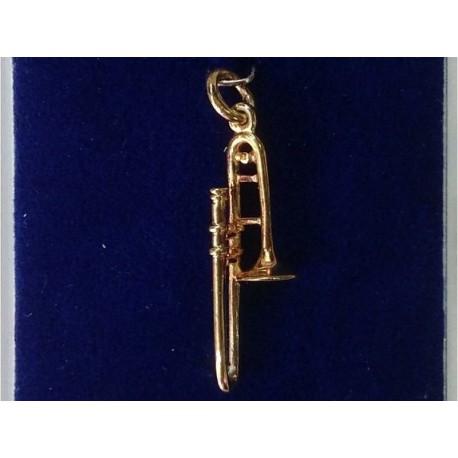 Pendentif - Trombone argent 925, doré