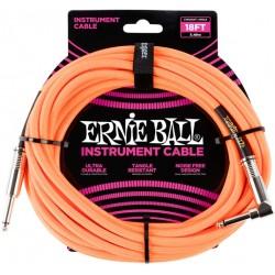 Câble Instrument Jack Coudé / Jack 6m - néon orange tissu - Ernie Ball
