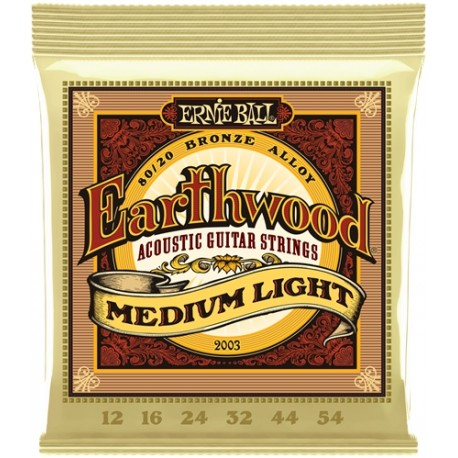 Cordes Acoustique ERNIE BALL Earthwood Bronze, Med Light 12-54