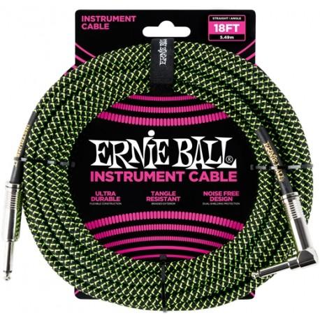 Câble Instrument Jack Coudé / Jack 6m - noir vert tissu - Ernie Ball