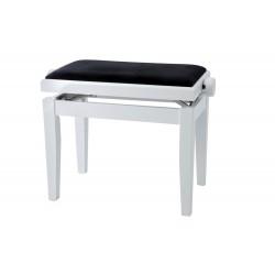 Tabouret Piano Deluxe Blanc Mat + Velours Noir
