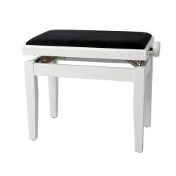 Tabouret Piano Deluxe Blanc Brillant + Velours Noir